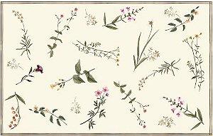 Toalha estampa Galhos e Flores (Fundo marfim)- Tecido com Impermeabilidade