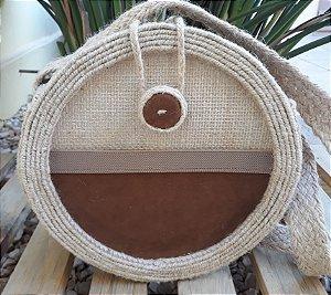 Bolsa circlebag juta / sisal / sued chocolate