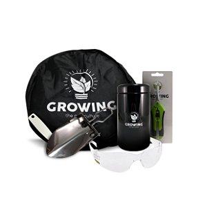 KIT LITTLE TOOLS [GROWINGCUT + GROWINGNET + ÓCULOS DE PROTEÇÃO + GROWINGJAR 500ml + GROWING SHOVEL + ETIQUETA]