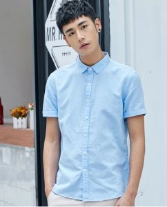camisa social manga curta lisa