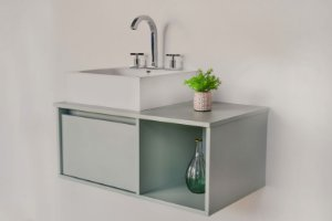 Gabinete para banheiro verde mint