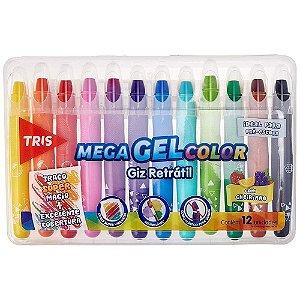Giz de Cera Mega Gel Color Giz Retrátil - Estojo 12 unidades