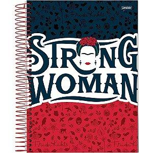 Caderno Universitário Frida Kahlo Strong Woman Capa Dura 80 Folhas - Jandaia