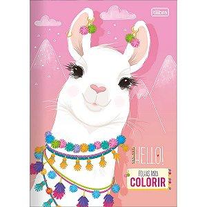 Livro Folhas para Colorir Lhama Hello Tilibra
