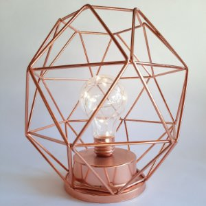 Luminária Globo Geométrico Rose Gold