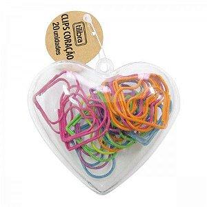Clips Coração Colorido 20 Unidades - Tilibra