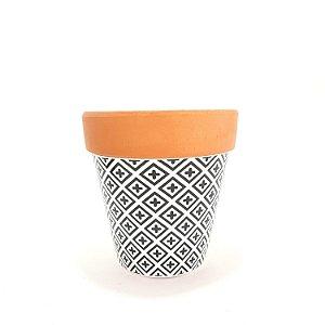 Vaso Cachepot Cerâmica Decorado Retrô