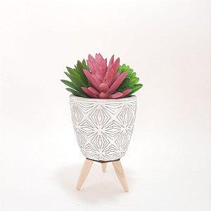 Vaso Cachepot Concreto Simmetry Flower Com Pé Cinza