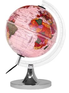 Luminária Aquarela Rosa - Globo Mapa Mundi - Base Cromada