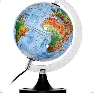 Luminária Globo Star Mapa Mundi - Físico e Político - Base Preta