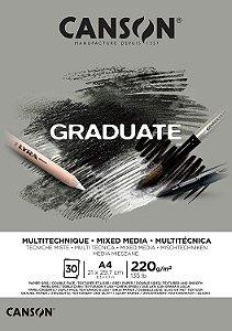 Bloco Canson Graduate Mixed Media A4 30fls 220grs Cinza