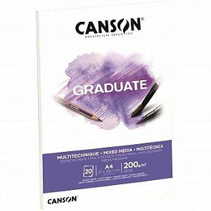 Bloco Canson Graduate Mixed Media A4 20fls 200grs