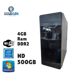 Nova: Computador Montado Intel Celeron 4GB Ram DDR2 HD 500GB Windows 07