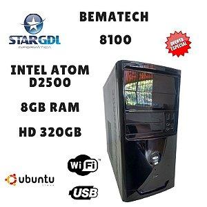 Nova: Computador Bematech 8100 Montado Proc. Intel Atom D2500 8GB Ram DDR3 HD 320GB Linux Ubuntu