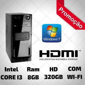 NOVA: Computador Star Core i3 8gb Ram Hd 320gb Wifi Hdmi Windows 7