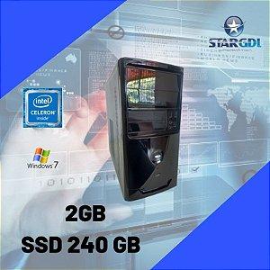 Nova : Computador Celeron 2gb SSd 240gb Windows 7 Pronta Para Uso