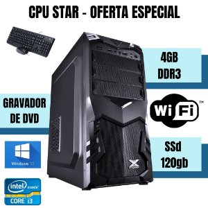 CPU STAR - Core i3 4gb ram Ssd 120gb Win10 - Leitor dvd Nova