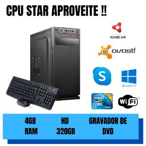 Cpu Core 2 Duo 4gb HD 320gb - Gravador Dvd - Windows 10 Nova
