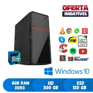 Pc Core i5 8gb Hd 500 + SSd 120 Windows 10 Pró Dvd Promoção