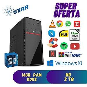 CPU Core i3 16gb Ram Hd 2tb Windows 10 Pró - Dvd  Rw