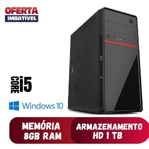 Computador Pc Desktop Cpu Core i5 8gb Hd 1tb Win10 500w Dvd.