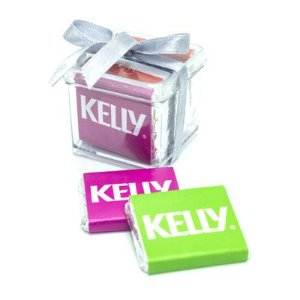 Caixa Personalizada em Silk + 5 Tabletes de Chocolate com Cinta Personalizada + Laço