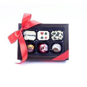 Caixa Luxo 6 Bombons Personalizados 04 cores + Laço