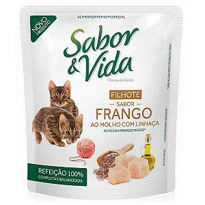 Kit Projeto Vida Animal 18 unidades de Sabor & Vida Sache Gatos Filhotes Frango e Linhaça