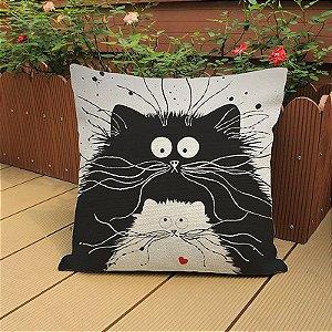 Capa de almofada gato duo