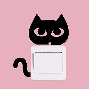 Adesivo de parede interruptor gato olhar