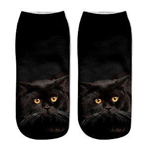 Meia soquete gato preto