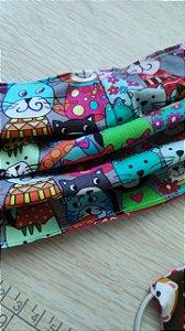 Mascara reutilizável em tecido gatinhos colors