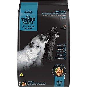 Ração Seca Three Cats Super Premium Frango para Gatos Castrados Bola de Pelo