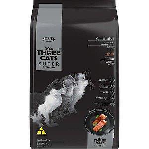 Ração Seca Three Cats Super Premium Salmão para Gatos Castrados 6 Meses +
