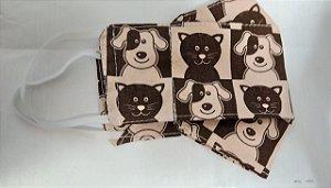 Máscara de proteção algodão duplo 3D cat e dog