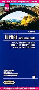 Mapa rodoviário da Turquia - Costa do mediterrâneo