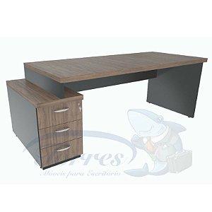 Mesa reta com rebaixo e gavetão