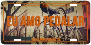 "Placa Decorativa Bike ""Eu Amo Pedalar"""