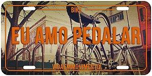 "Placa Decorativa Bike ""Eu Amo Pedalar"""