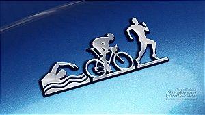 Adesivo Triathlon - MASC (Cromado e Preto)