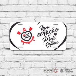 Placa Decorativa Corinthians  - Meu Coração é Preto e Branco