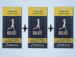KIT 3 Adesivos CROMADO - Run Woman