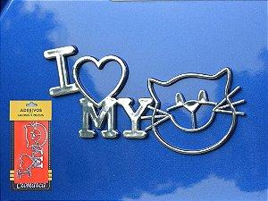 Adesivo CROMADO I LOVE MY CAT