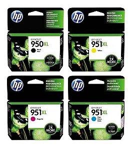 Kit 4 Cartuchos HP 950XL Preto CN045AL 951XL Colors CN046AB, CN047AB, CN048AB Original