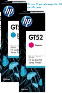 Kit HP GT52 com 01 Garrafa de Tinta Ciano M0H54AL + 01 Garrafa de Tinta Magenta M0H55AL Original