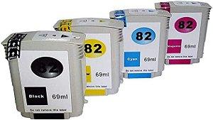 Kit 4 cores Cartucho de Tinta Mecsupri Compatível com HP 82 Preto Amarelo Magenta e Ciano