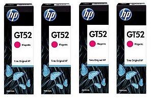 Combo de 4 unidades de Garrafa de Tinta HP Magenta GT52 M0H55AL Original para HP DeskJet GT 5822