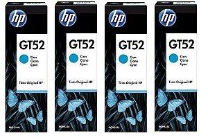 Combo de 4 unidades de Garrafa de Tinta HP Ciano GT52 M0H54AL para HP DeskJet GT 5822 Original