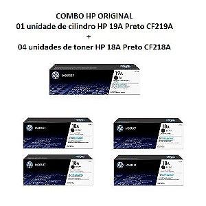Combo de 4 Toner HP 18A Preto Laserjet Original (CF218AB) + 1 Cilindro HP 19A Preto CF219A Original