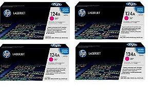 Combo de 4 Toner HP Q6003A Magenta 124A Original - 2600 1600 2600N 2600DTN CM1015 MFP CM1017 MFP